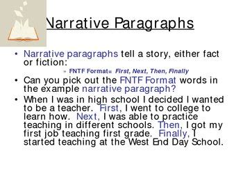 writing narrative paragraphs  transition words