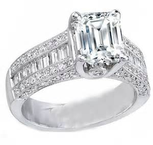 emerald cut engagement rings with baguettes engagement ring emerald cut engagement ring three row baguette diamonds heirloom 1 34