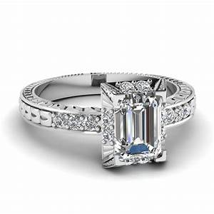 vintage art deco emerald cut diamond engagement ring in With wedding ring emerald cut