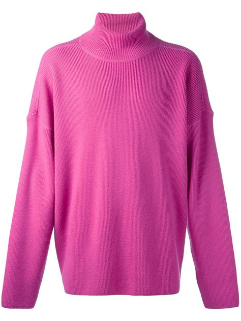 oversized pink sweater ami oversized turtleneck sweater in pink for lyst