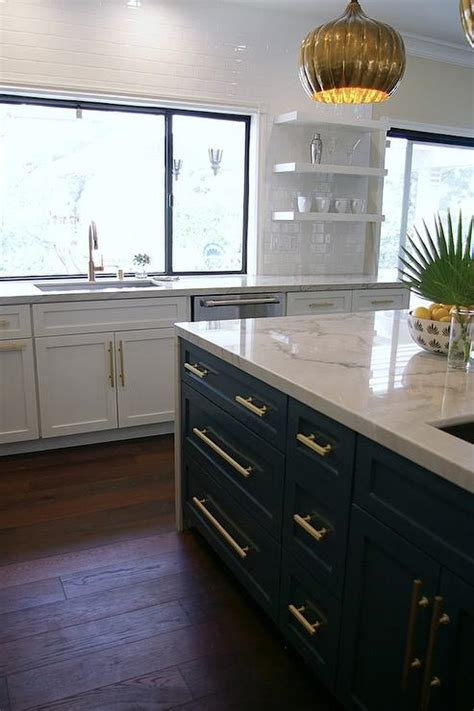 blue gray kitchen island  brass  pulls hollywood