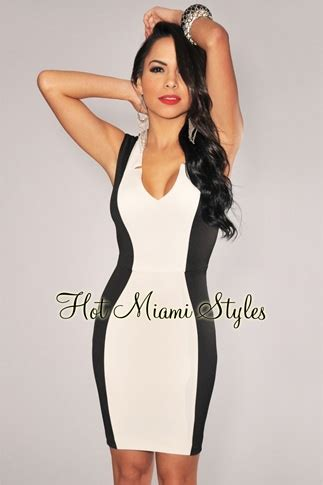 black white color block hourglass dress