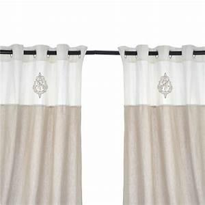 Rideau Lin Blanc : paire de rideaux 140x290cm en coton et lin coloris blanc angel maison et styles ~ Teatrodelosmanantiales.com Idées de Décoration