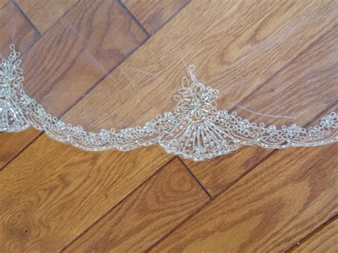Silver Embroidered Beaded Rhinestone Cathedral Length Wedding Veil