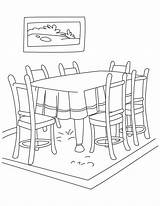 Dining Clipart Coloring Pages Living Clip Furniture Clker Coloringtop sketch template