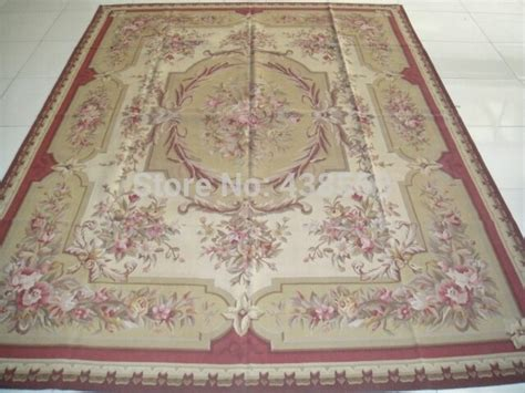 shipping  french aubusson woolen rugs red beige