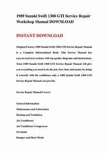 1989 Suzuki Swift 1300 Gti Service Repair Workshop Manual