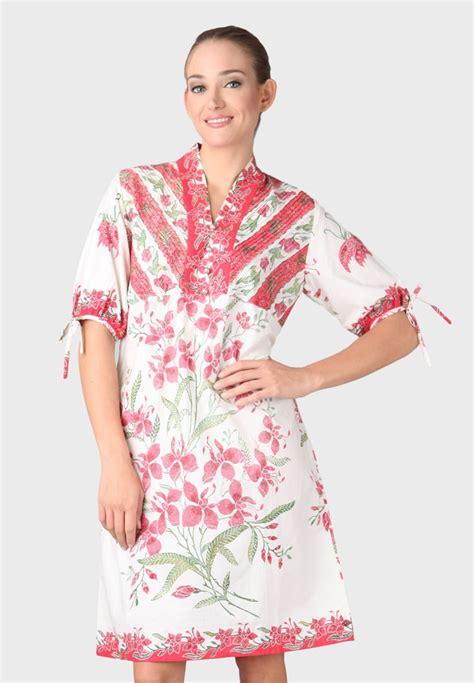 fays batik art dress batik obnesel putih pink