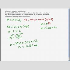 Molarity  Find A Mass Form A Molarity And Volume Youtube