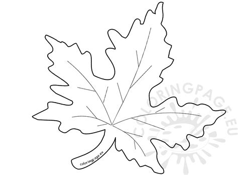 autumn maple leaf template coloring page