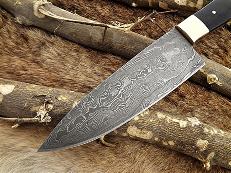 damascus steel  inches kitchen knife  long full