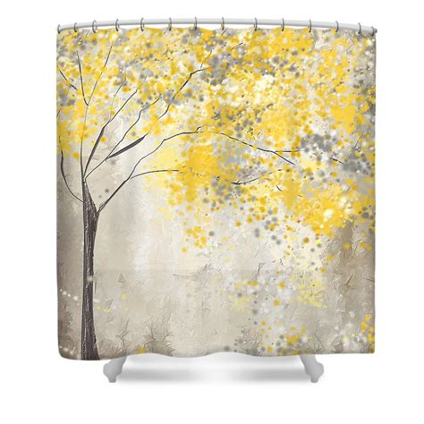 gray yellow shower curtain yellow and gray tree shower curtain for by lourry legarde