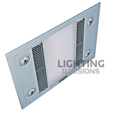 martec linear led bathroom heater exhaust fan light silver
