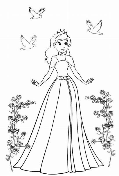 Princess Coloring Pages Birds Roses Course Clipartqueen
