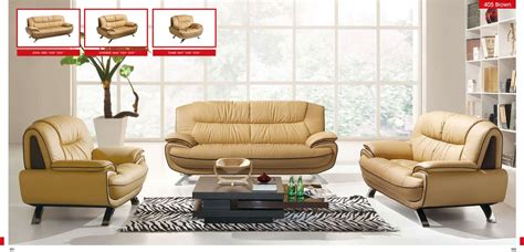 Living Room Settee Furniture by 405 Brown Leather Sofa Set By Esf