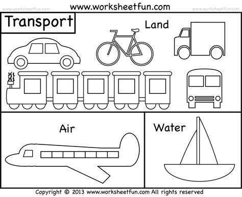 Means Of Transportation  Air, Land And Water  Kindergarten And Preschool  2 Worksheets Free
