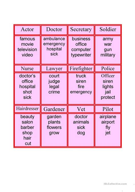 taboo cards worksheet  esl printable worksheets