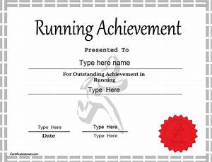 sports certificate achievement in running With fun run certificate template