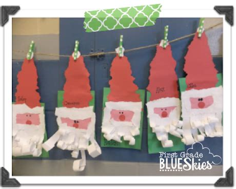 christmas crafts in the classroom torn paper santa