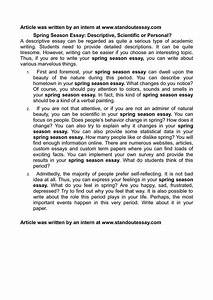 Personal Essay Examples For High School Essay Spring Season Wikipedia Free Structures Of An Essay Sample Business School Essays also High School English Essay Topics Essay About Spring Season Essay About Ethics Essay About Spring  English Essay Outline Format