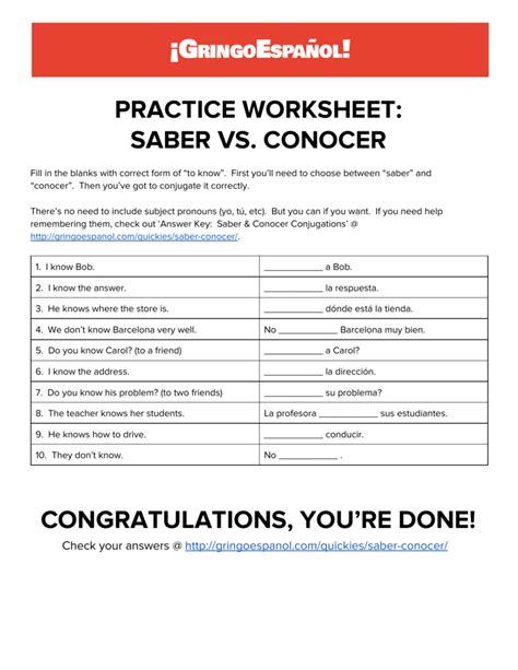 uncategorized saber and conocer worksheets