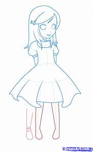 How to Draw a Girl In a Dress, Step by Step, Anime People ...