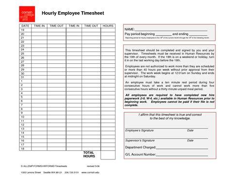 Employee Timesheet Template  Generic Hourly Employee