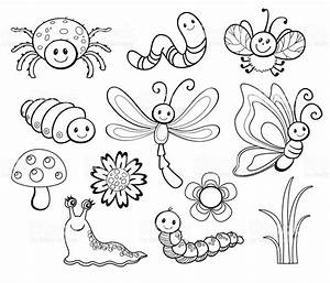 Vector Set Of Cute Cartoon Bug Line Art Coloring Stock ...
