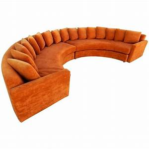 mid century modern orange velvet semi circle sofa at 1stdibs With orange velvet sectional sofa