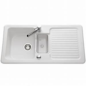 Evier En Gres Blanc 1 Bac : vier en c ramicplus blanc 1 bac 1 2 1 gouttoir marque ~ Premium-room.com Idées de Décoration