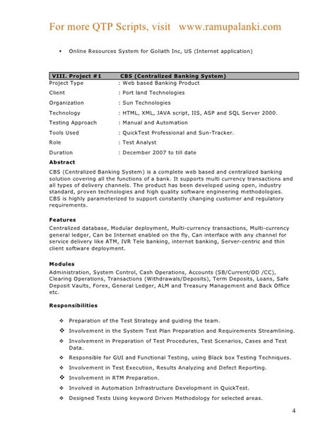 Project Based Resume Template by Qtp Sle Resume