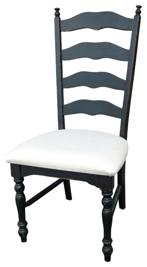ladderback distressed black side chair traditional