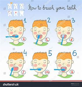 Instructions On How Brush Your Teeth Stock Vector