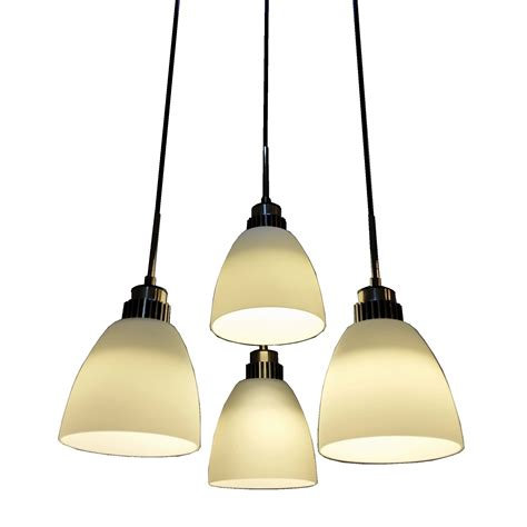 4 light led hanging pendant l in white shade l