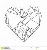 Cristal Crystal Coloring Coeur Cristallo Cuore Crystals Heart Grafisches Kristallherz Line Grafisch Grafico Graphique Vector Dessin Quartz Sketch Template Shape sketch template