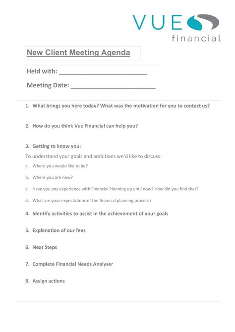 client meeting agenda templates