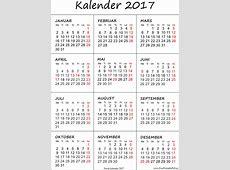 Kalender 2017 utskriftsvennlig Gratis utskriftsvennlig PDF