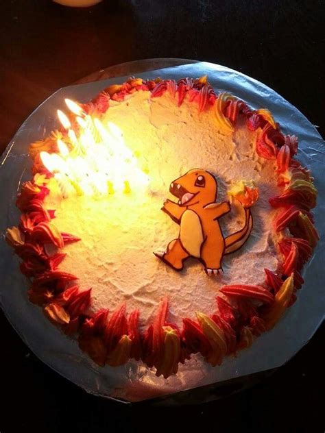 charmander cake   brother butter cream flames