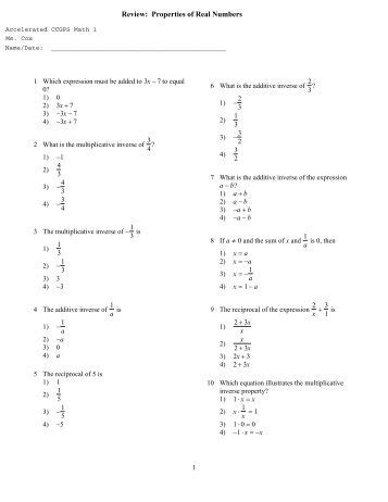 properties of real numbers especially distributive