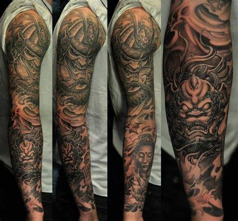 full sleeve black  grey hannya mask  foo dog tattoo