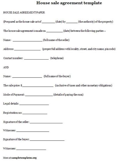 Home Sale Contract Template by House Sale Agreement Exle Of House Sale Agreement