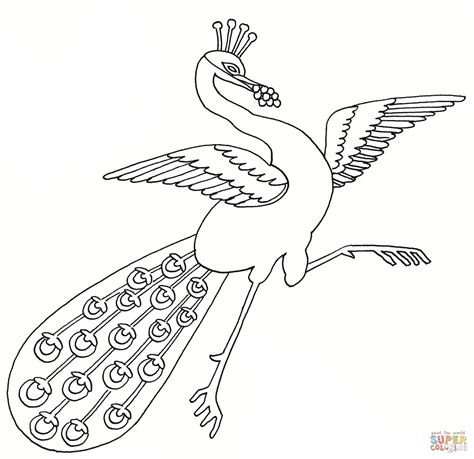 Dancing Peacock Coloring Page Free Printable Coloring Pages