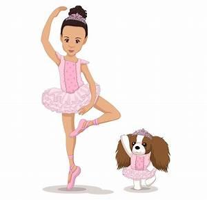 Create custom cartoon of little girl and dog dancing as a ...