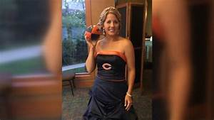 bride surprises dad by wearing chicago bears themed With chicago bears wedding dress