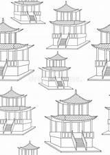 Coloring Japan Gazebo Offline Colorless Seamless Asian Architecture Pattern Outline sketch template