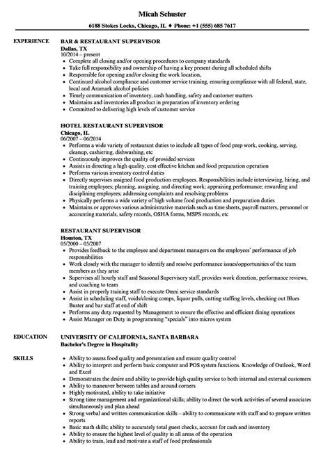 Resume For Restaurant Supervisor by Restaurant Supervisor Resume Sles Velvet