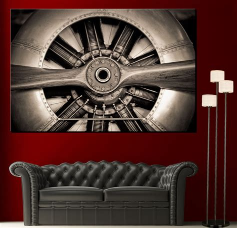 the tank engine wall decor wall propeller airplane engine canvas print picture