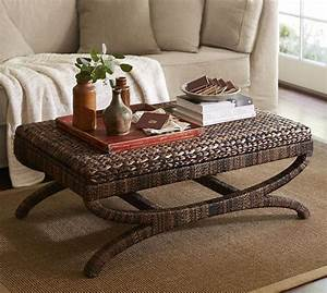 seagrass coffee table ottoman pottery barn coastal With coastal ottoman coffee table