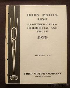 Purchase 1939 Ford Body Parts List  Original Catalog