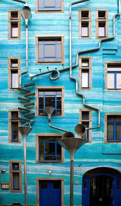 musical facade gutter funnel wall dresden germany
